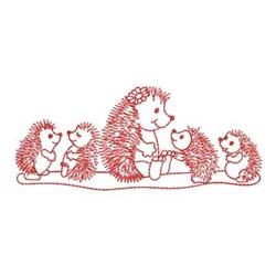 Redwork Hedgehog & Babies embroidery design
