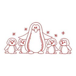 Redwork Penguin & Chicks embroidery design