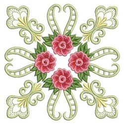Decorative Rose Quilt Block embroidery design