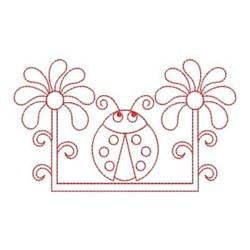 Redwork Spring Ladybug embroidery design
