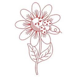 Redwork Daisy & Ladybug embroidery design