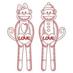 Redwork Sock Monkeys embroidery design