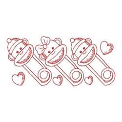 Redwork Monkey Safety Pins embroidery design