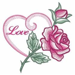 Watercolor Rose Love embroidery design