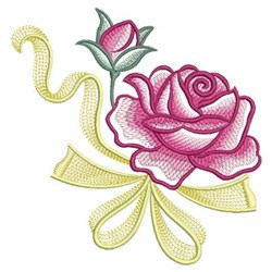Watercolor Roses & Ribbon embroidery design