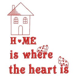 Redwork Home & Ladybugs embroidery design