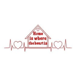 Redwork Home & Heartbeat embroidery design