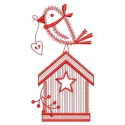 Redwork Country Birdhouse embroidery design