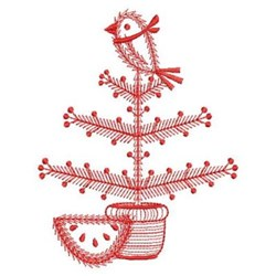 Redwork Country Tree & Bird embroidery design