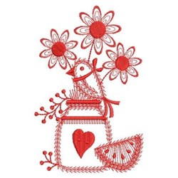 Redwork Country Flowers embroidery design