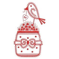 Redwork Welcome Bird & Flowers embroidery design