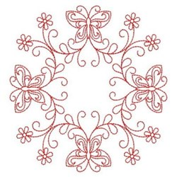 Redwork Butterfly Circle embroidery design