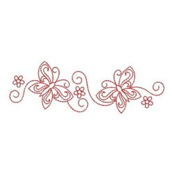 Redwork Butterfly Border embroidery design