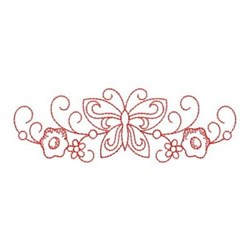 Redwork Floral Butterfly Border embroidery design