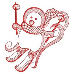 Redwork Skiing Winter Penguin embroidery design
