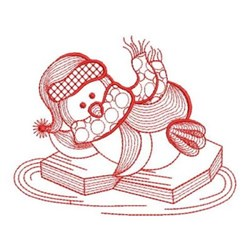 Redwork Winter Floating Penguin embroidery design