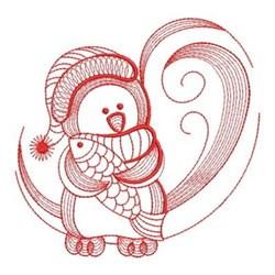Redwork Winter Penguin & Fish embroidery design