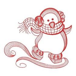 Redwork Winter Skating Penguin embroidery design
