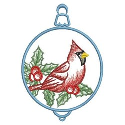 Christmas Cardinal Ornament embroidery design