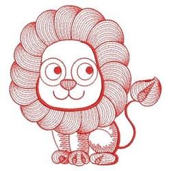 Redwork Rippled Lion embroidery design
