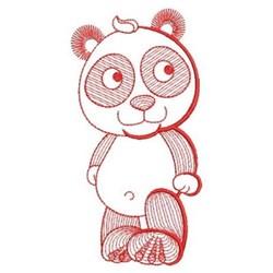 Redwork Rippled Panda Bear embroidery design