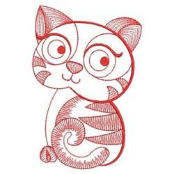Redwork Rippled Kitten embroidery design