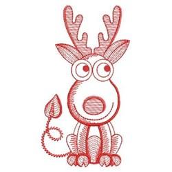 Redwork Rippled Deer embroidery design
