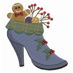 Christmas High Heel Shoe embroidery design