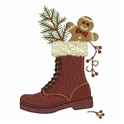 Christmas Snow Boot embroidery design