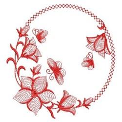 Redwork Bluebell Wreath embroidery design