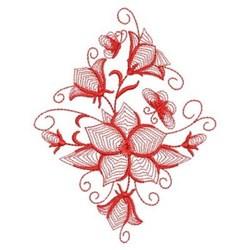 Redwork Bluebell Diamond embroidery design