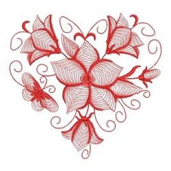 Redwork Bluebell Heart embroidery design