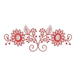 Redwork Sunflower Border embroidery design
