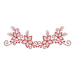 Redwork Flower Border embroidery design