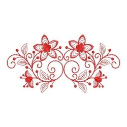 Redwork Floral Swag embroidery design