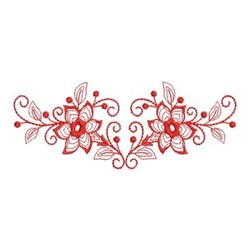 Redwork Flower Swag Border embroidery design