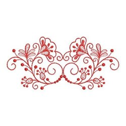 Delicate Redwork Floral Border embroidery design