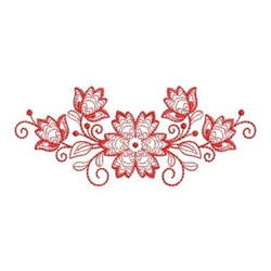 Redwork Floral Border embroidery design