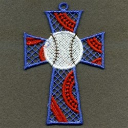 FSL Baseball Cross Ornament embroidery design