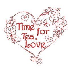 Redwork Tea Time Heart embroidery design