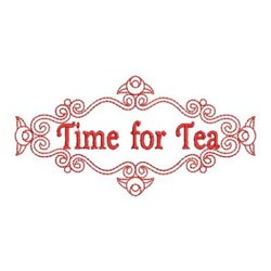Redwork Time for Tea embroidery design
