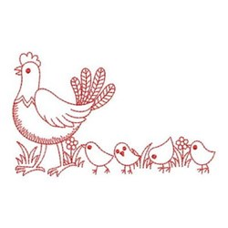 Redwork Chicks Following Mom embroidery design