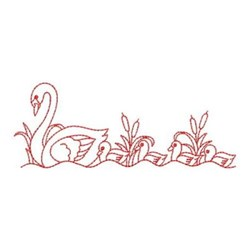 Redwork Swan & Chicks embroidery design