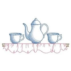 Sketched Tea Set Border embroidery design