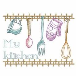 Sketched Kitchen Scene embroidery design