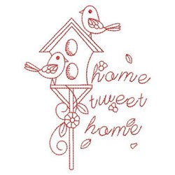 Redwork Birds & Birdhouse embroidery design