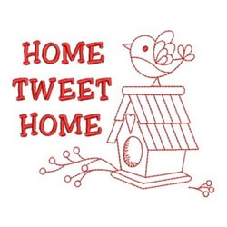 Redwork Birdhouse Home embroidery design