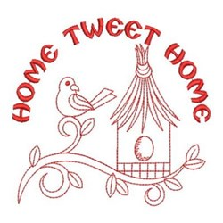 Redwork Decorative Birdhouse embroidery design