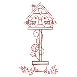 Redwork Flowers & Birdhouse embroidery design