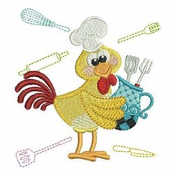Cartoon Chef Rooster embroidery design